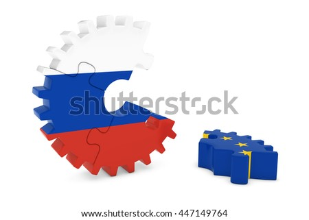 Russia and Europe Relations Concept 3D Cog Flag Puzzle Illustration