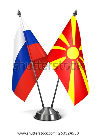 Russia and Macedonia - Miniature Flags Isolated on White Background. - stock photo