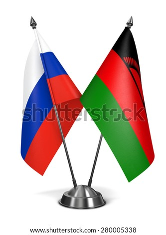 Russia and Malawi - Miniature Flags Isolated on White Background. - stock photo