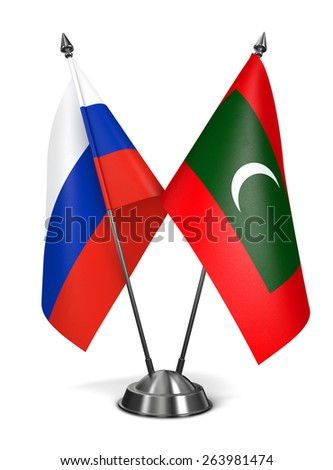 Russia and Maldives - Miniature Flags Isolated on White Background. - stock photo