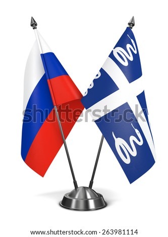 Russia and Martinique - Miniature Flags Isolated on White Background. - stock photo