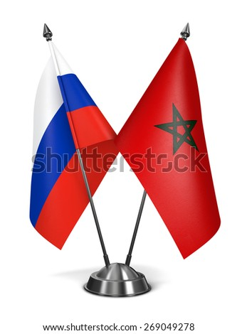 Russia and Morocco - Miniature Flags Isolated on White Background. - stock photo