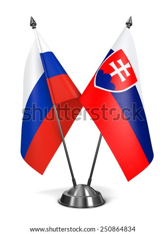 Russia and Slovakia - Miniature Flags Isolated on White Background. - stock photo