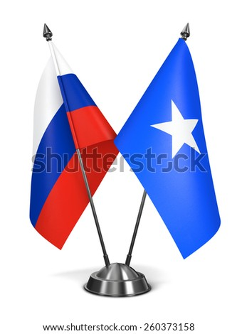 Russia and Somalia - Miniature Flags Isolated on White Background. - stock photo