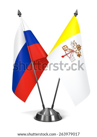 Russia and Vatican City - Miniature Flags Isolated on White Background.