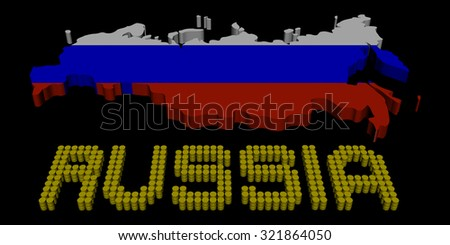 Russia barrel text with map flag illustration - stock photo