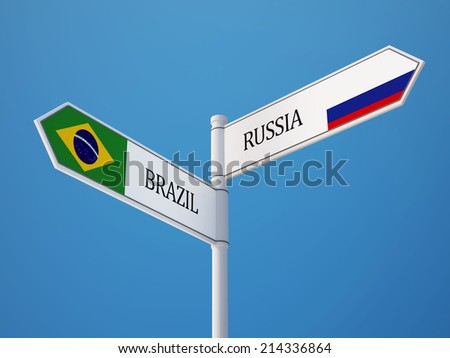 Russia Brazil High Resolution Sign Flags Concept - stock photo
