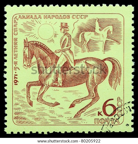 RUSSIA - CIRCA 1971:A  stamp printed by Russia, shows Dressage, circa 1971 - stock photo