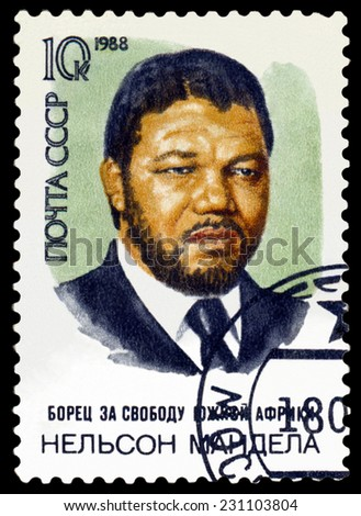 RUSSIA -CIRCA 1988: A Stamp printed by Russia,   shows portrait Nelson Mandela. South African anti-apartheid leadar, circa 1988 - stock photo