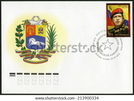 RUSSIA - CIRCA 2014: A stamp printed in Russia shows Hugo Rafael Chavez (1954-2013), President of Venezuela, circa 2014 - stock photo
