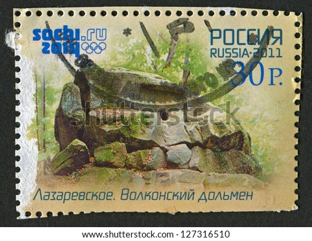 RUSSIA - CIRCA 2011: A stamp printed in Russia shows image of the Dolmen Volkonskiy in Sochi, Russia, circa 2011.