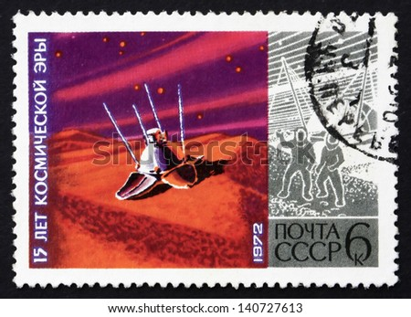 RUSSIA - CIRCA 1972: a stamp printed in the Russia shows Lunokhod on Moon, 15 Years of Space Era, circa 1972