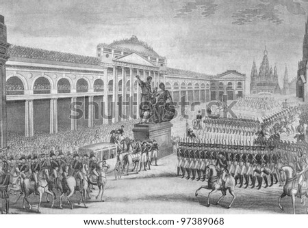 RUSSIA - CIRCA 2011: Illustration from the textbook The History of Russia, published in the Russia shows Parade on Red Square in Moscow, 19th century, circa 2011 - stock photo