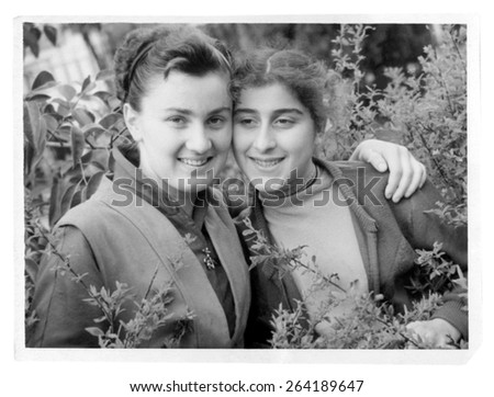 Russia - CIRCA 1958s: An antique Black & White photo of a two women