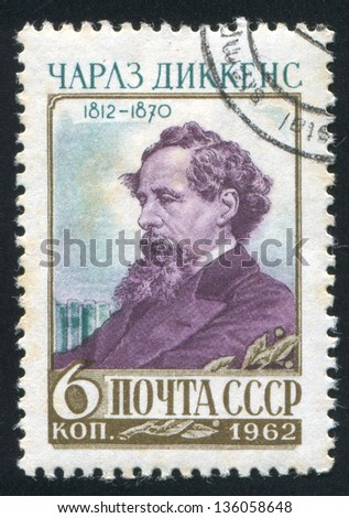 RUSSIA - CIRCA 1962: stamp printed by Russia, shows Charles Dickens, circa 1962 - stock photo
