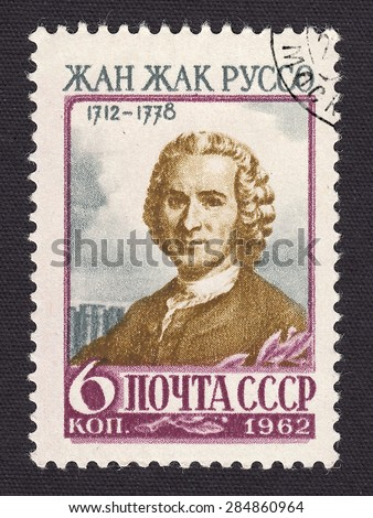 RUSSIA - CIRCA 1962: stamp printed by Russia, shows Jean Jacques Rousseau-French philosopher, writer, thinker, circa 1962