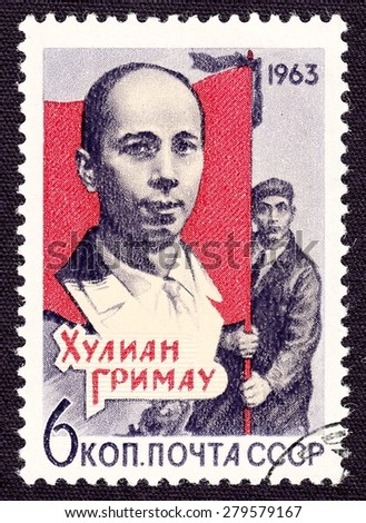 RUSSIA - CIRCA 1963: stamp printed by Russia, shows Julian Grimau Garcia - Spanish Communist, circa 1963
