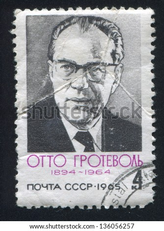 RUSSIA - CIRCA 1965: stamp printed by Russia, shows Otto Grothewohl, circa 1965