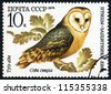 RUSSIA - CIRCA 1979: stamp printed by Russia, shows owl bird circa 1979 - stock photo