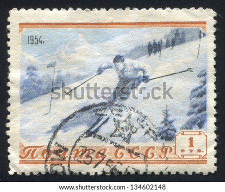 RUSSIA - CIRCA 1954: stamp printed by Russia, shows Skier, circa 1954 - stock photo