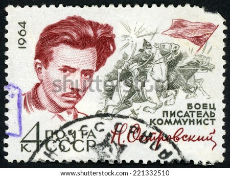 RUSSIA - CIRCA 1964: stamp printed in USSR (CCCP, soviet) shows portrait of writer Nikolai Ostrovsky (1904-36) & battle scene fighting soldiers on horses; Scott 2897A A1459 4k purple; circa 1964 - stock photo
