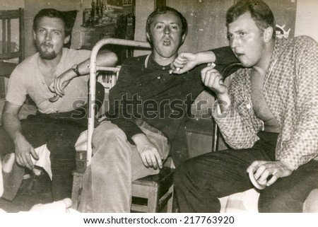 RUSSIA, CIRCA 1970 - Vintage photo of three young men