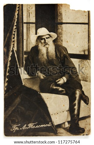 RUSSIA-CIRCA 1910 : Vintage post card shows portrait  of russian writer Lev Nikolayevich Tolstoy , circa 1910 - stock photo