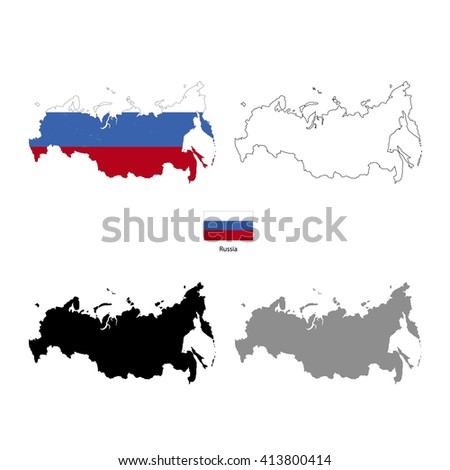 Russia country black silhouette and with flag on background, isolated on white - stock photo