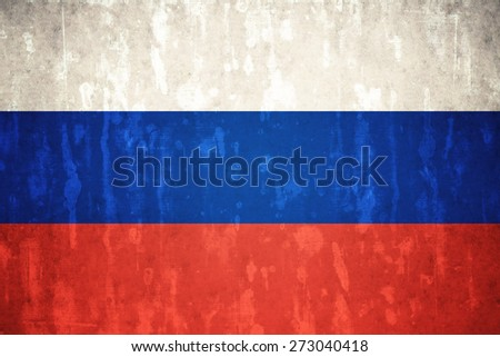 Russia flag on concrete textured background - stock photo