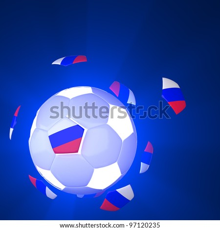 Russia flag on 3d Football for Euro 2012 Group A - stock photo
