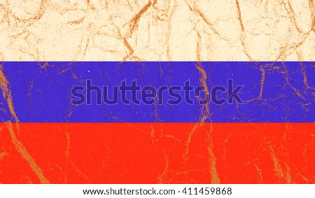 Russia flag painted on crumpled paper background - stock photo