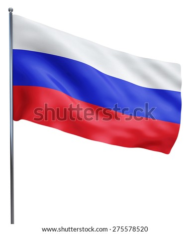 Russia flag waving image isolated on white. Clipping path included. - stock photo