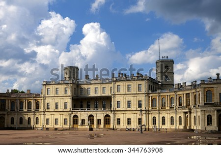 Russia,Gatchina, parade ground before palace, clouds .