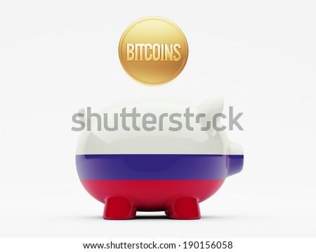 Russia High Resolution Bitcoin Concept - stock photo