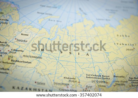 Russia in close up on the map. Focus on the name of country.