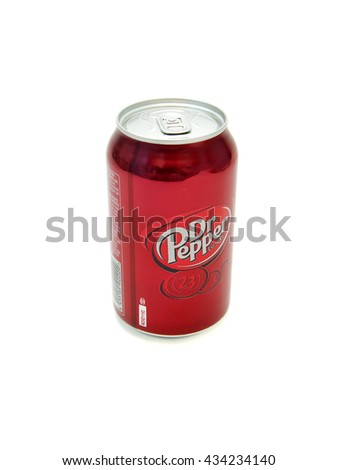 RUSSIA - JUNE 09, 2016: Dr. Pepper Bottle Can Isolated On White Background