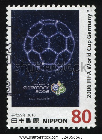 RUSSIA KALININGRAD, 22 APRIL 2016: stamp printed by Japan, shows an emblem of the FIFA World Cup Ceremony represented with the football in the night sky, circa 2010
