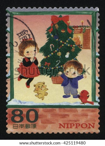 RUSSIA KALININGRAD, 22 APRIL 2016: stamp printed by Japan shows christmas, circa 2012 - stock photo