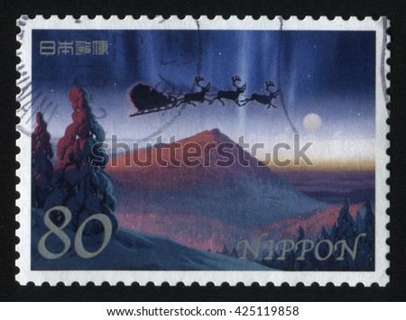 RUSSIA KALININGRAD, 19 APRIL 2016: stamp printed by Japan shows mountain, circa 2012 - stock photo