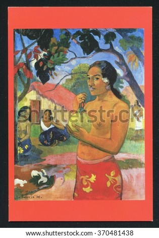 RUSSIA KALININGRAD, 3 AUGUST 2015: post card printed by Russia, shows Paul Gauguin. Painting Woman Holding a Fruit, circa 2015. - stock photo