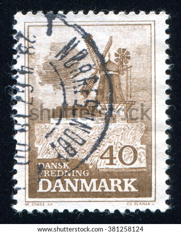 RUSSIA KALININGRAD, 5 JANUARY 2014: stamp printed by Denmark, shows Bogo Windmill, circa 1965 - stock photo