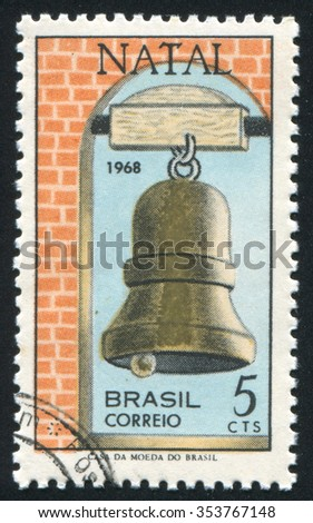 RUSSIA KALININGRAD, 24 JULY 2014: stamp printed by Brazil, shows  Bell, circa 1968 - stock photo
