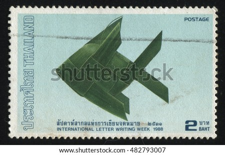 RUSSIA KALININGRAD, 2 JUNE 2016: stamp printed by Thailand, shows a green fish from the paper, circa 1988