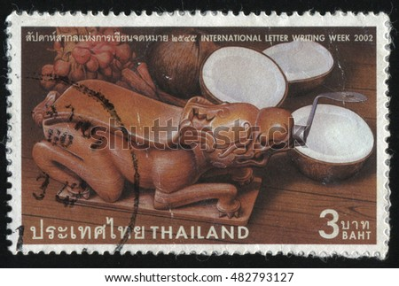 RUSSIA KALININGRAD, 2 JUNE 2016: stamp printed by Thailand, shows animal shaped