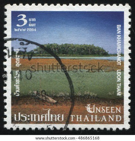RUSSIA KALININGRAD, 4 JUNE 2016: stamp printed by Thailand, shows bank of the river, Ban Khamchanot Udon Thani, circa 2004
