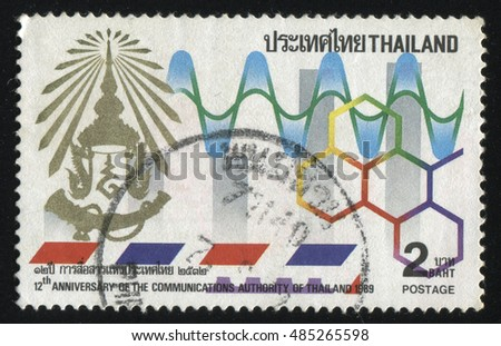 RUSSIA KALININGRAD, 2 JUNE 2016: stamp printed by Thailand, shows colorful picture of hexagones, lines and temple emblem, circa 1989