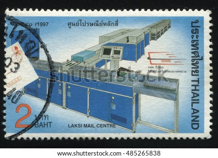 RUSSIA KALININGRAD, 2 JUNE 2016: stamp printed by Thailand, shows conveyor in Laksi mail centre, circa 1997