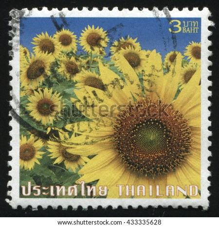 RUSSIA KALININGRAD, 3 JUNE 2016: stamp printed by Thailand shows flower, circa 2004