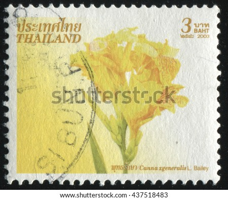 RUSSIA KALININGRAD, 3 JUNE 2016: stamp printed by Thailand shows flower, circa 2003