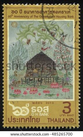 RUSSIA KALININGRAD, 2 JUNE 2016: stamp printed by Thailand, shows hut in the forest, circa 2013